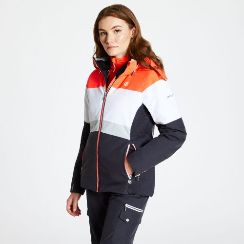 Women's Avowal Ski Jacket Ebony White Fiery Coral